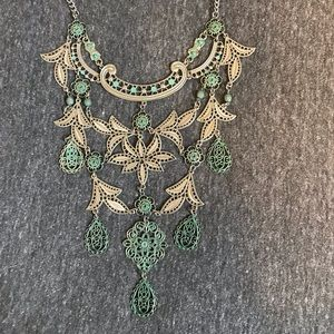 Statement necklace silver and turquoise color
